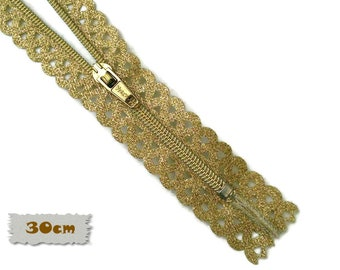 Vizzy, 30cm, Gold, Zippers, Metal Slider, No. 3, 12 Inch, Decorative Clasp, Non-Detachable, (Reg 5.50)