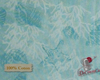 Aqua, Seaside Dreams, Shario Fults, Studio e, 3428, multiple quantity cut in one piece, 100% Cotton, (Reg 3.99 - 17.99)