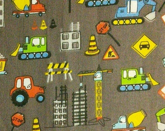 Truck, tractor, mechanical shovel, Crane, construction, building, yellow, Édition Fabric, multiple quantity cut in one piece, 100% Cotton