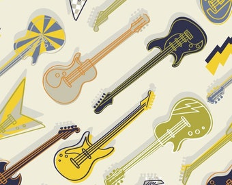 Guitar, music, Rock'n Roll, Rock On, 21200301, col 02, Camelot Fabrics, 100% Cotton, quilt cotton, designer cotton