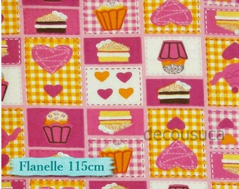 ON SALE,Flannel, Cup Cake, pink, yellow et fuschia, gold,