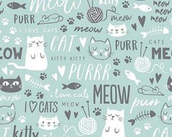 AQUA, Cat, TEXT, Purrfect Day, 9902, Riley Blake, cotton quilt, cotton designer