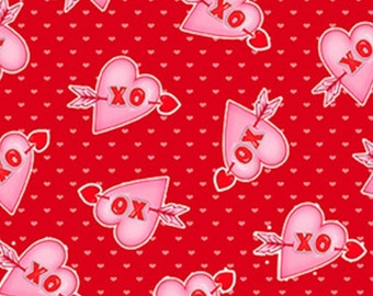 Heart, XO, Love Struck, 1368-88, by Shelly Comiskey, Simply Shelly Designs, Henry Glass & Co, 100% Cotton
