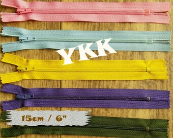 3 YKK, 15cm, 3 zipper, #3, 16 inchs, varied color, nylon, perfect for wallets, clothing, repair, creation, Z40