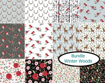 "Bundle, 12 FQ, 1/4 yard, 1/2 yard, FE = 9""X22"", 1 of each, Winter Woods, Camelot Fabrics, 100% cotton"