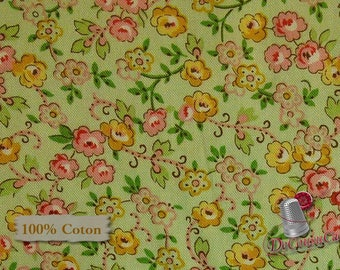 Little flower, vintage, pink, corn, green, Quilting Treasures, 100% cotton
