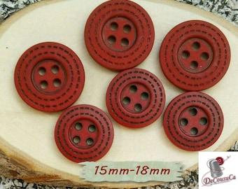 6 Buttons, 15mm, 18mm, red, black, 4 holes, decorative, Vintage, GR07