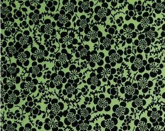 Flower,  black, green, Tea's Me, Benartex, 08531, col 44, cotton, cotton quilt, cotton designer