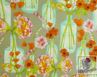 END OF BOLT, Posie Bouquet, orange, turquoise, Michael Miller Fabrics, 6662, multiple quantity cut in one piece, 100% Cotton