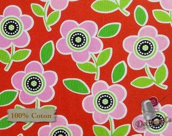 Pink flower, red, 6772, Are we there yet? Henry Glass & Co, 100% Cotton