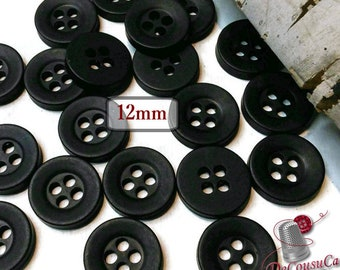 50 Buttons, 12mm, black, plastic, résin, BA58, (Valeur de 7.50)
