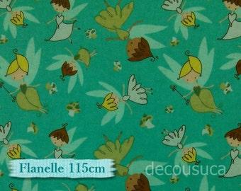"""Fat quarter, 18""""X22"""" = 45cm X 55cm, Flannel, Petites fées, seal, 100% Cotton"""