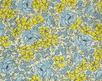 Flower, yellow, blue, Édition Fabric, multiple quantity cut in one piece, 100% Cotton