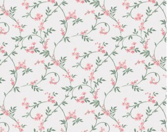 END OF BOLT, Swirly blossom, pink, ivory, Wisteria, Laura Ashley, 71170702, col 02, Camelot Fabrics, 100% Cotton, (Reg 2.99-17.99)