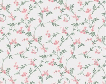 Swirly blossom, pink, ivory, Wisteria, Laura Ashley, 71170702, col 02, Camelot Fabrics, 100% Cotton, (Reg 2.99-17.99)