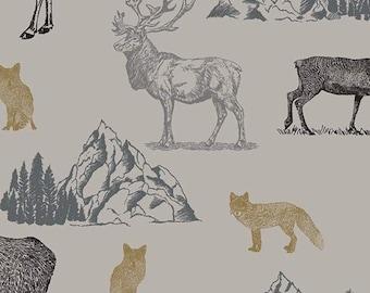 Moose, Caribou, Fox, Light Gray, Timberland, 10330, Riley Blake, cotton quilt, cotton designer, (Reg 3.76-21.91)