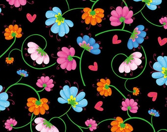 Flower on black, BUSY BEES, 1412-99, Henry Glass & Co, 100% Cotton