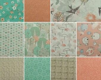 Bundle, 8 or 11 prints, Nature, tree, cub, peach, aqua, Fabric Edition, 1 of each print