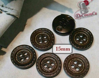 6 buttons, Leather brown 15 mm, imitation leather, 1970, BM168, (Reg 4.80)