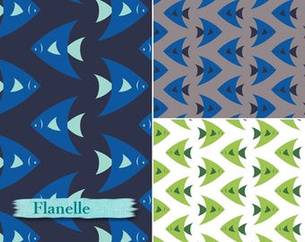 Flannel, Fish, 2250002B,  Camelot Fabrics, many yards will be cut as one piece, navy, grey or green