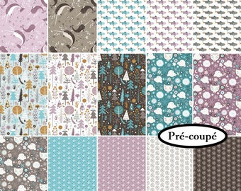 """Jelly Rolls, (15), square 4"""", square 6 1/2"""", square 8 1/2"""", 1 of each, Snowfall, Camelot Fabrics, cotton,"""