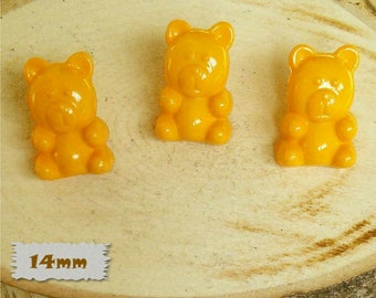 3 Buttons, Bear, ORANGE, 14mm, Polyester, Casein, Vintage, 1980, Fancy Button, Solid Button, BF52, (Reg 1.80)