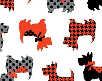 Sweet Scotties, white, Dotty for Scottie, Kanvas, 7887, Benartex, cotton, cotton quilt, cotton designer