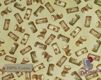 Cork, Vintage, Mary Beth Baker, Henry Glass & Co, 1136, multiple quantity cut in 1 piece, 100% Cotton, (Reg 2.99 - 17.99)