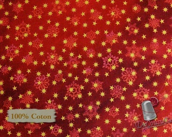Star gold, red, Quilting Treasures, multiple quantity cut in one piece, 100% Cotton