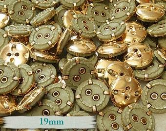 6 buttons, sage, golden, 19mm, (3/4 inch), 2 holes, plastic, resin, vintage, BM18