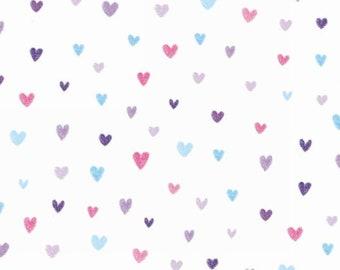 Heart, white, Unicorn Kisses, 4056, Studio E, multiple quantity cut in 1 piece, 100% Cotton