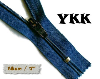 YKK, 18cm, Dark blue, Zipper, curseur 45c, 7 inchs, Zipper sport, nylon, perfect for wallets, jeans, leather, Z05