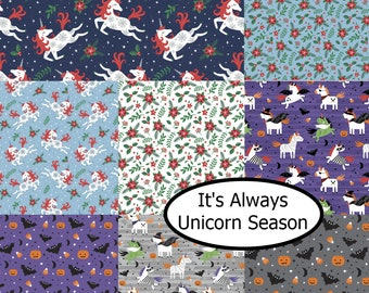Bundle, 8 motifs, It's Always Unicorn Season, Camelot Fabrics,