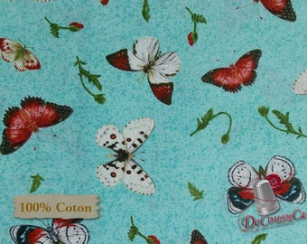Butterfly, aqua, background, Poppy Perfection, Janes's Garden, Henry Glass & Co, multiple quantity cut in 1 piece, 100% Cotton