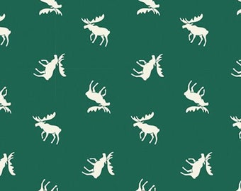 Moose, green, Hudson, 21172103, col 02, Camelot Fabrics, multiple quantity cut in one piece, 100% Cotton