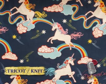 END OF BOLT, Poly / spandex jersey, knit, 95 polyester, 5 spandex, stretch fabric, garment fabric, 58/60 wide, Unicorn, navy