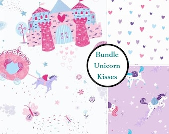 3 prints, Unicorn Kisses, Studio E, bundle, 1 of each print, 100% Cotton