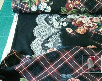 Tartan Rose Border, Michael Millers Fabrics, 6482, multiple quantity cut in one piece, 100% Cotton