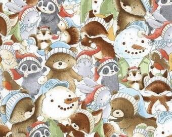 Snowman, teddy bear, squirrel, fox, Snow Day, 7550, Timeless Treasures