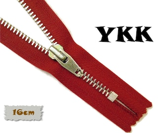 YKK, 16cm, Dark blue, Zipper, Cursor V, 6 1/4 Inch, Metal, Zipper, Non-Detachable, vintage, 1980, Z16 (Reg 2.59)