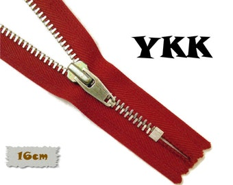 YKK, 16cm, Dark blue, Zipper, Cursor V, 6 1/4 Inch, Metal, Zipper, Non-Detachable, vintage, 1980, Z16