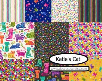NEW, Bundle, 10 prints, Cats, Katie's Cat, Makower, (Reg 37.60-194.90)
