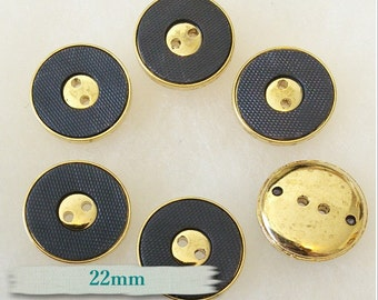 6 buttons, 22mm, Blue Jeans and golden, golden center, gold antique, vintage, chic button, BM24