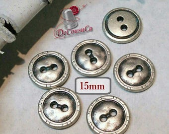 6 buttons, Silver embossé, 15 mm, metal, silver, basic button, sound button, BM129, (Reg 4.20)