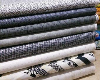 Bundle, 8 motifs, Black, white, ivory, quilt cotton
