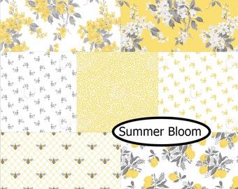 Bundle, 7 prints, Summer Blooms, Camelot Fabrics, Bundle, 1 of each print, quilt cotton