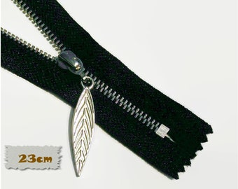 23cm, zipper, 9 pouce, black, silver, leaf 4cm, perfect for wallets, clothing, repair, Z23-9