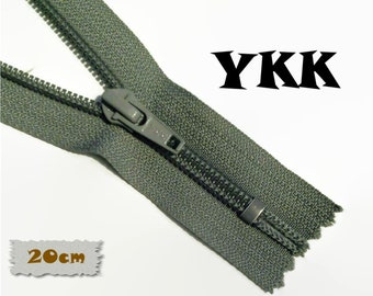 YKK, 20cm, Grey, Zipper, Cursor 5C, Metal Slider, Zipper, Non-Detachable, vintage, 1980, Z07