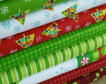 KIt of 8 designs, Very Merry, Andover, 100% cotton