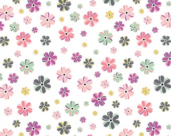 Flower, white, 4142202, col 01, My Gray or the Highway, Camelot Fabrics, multiple quantity cut in one piece, 100% Cotton